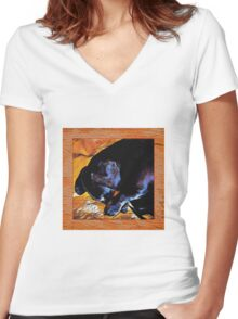 dachshund sleeping Women's Fitted V-Neck T-Shirt