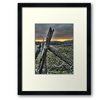 Fence At Sunset Framed Print