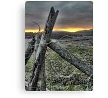 Fence At Sunset Canvas Print