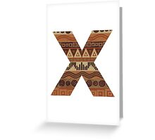 Letter X Leather Look Pattern Tribal Ethnic Monogram Initial Greeting Card