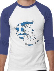 Greece Map With Greek Flag Men's Baseball ¾ T-Shirt