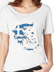 Greece Map With Greek Flag Women's Relaxed Fit T-Shirt