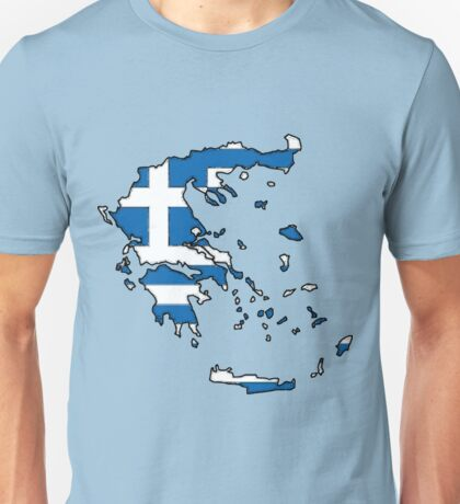 Greece Map With Greek Flag Unisex T-Shirt