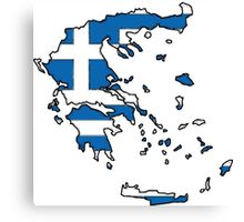 Greece Map With Greek Flag Canvas Print