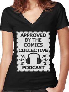 Comics Collective Podcast Logo Women's Fitted V-Neck T-Shirt