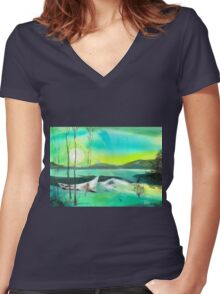 White Boat Women's Fitted V-Neck T-Shirt