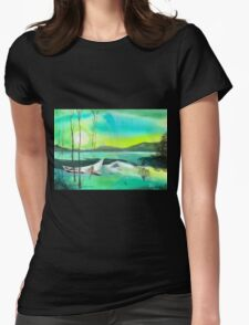 White Boat Womens Fitted T-Shirt