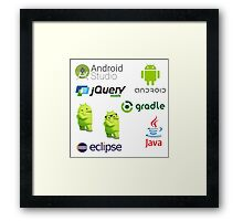 android programming lenguage sticker set Framed Print