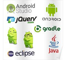 android programming lenguage sticker set Poster