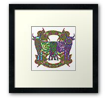 Rainbow Lined Bulls Framed Print