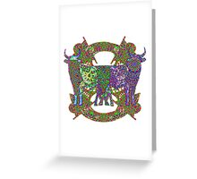 Rainbow Lined Bulls Greeting Card