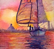 Sunset Sailing by kimberlyeatonar