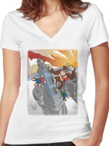 Amazing Kong Color Women's Fitted V-Neck T-Shirt