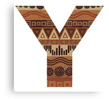 Letter Y Leather Look Pattern Tribal Ethnic Monogram Initial Canvas Print