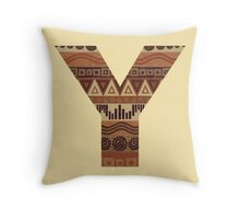Letter Y Leather Look Pattern Tribal Ethnic Monogram Initial Throw Pillow