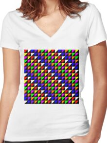 Triangle Repeated Colourful Pattern Women's Fitted V-Neck T-Shirt