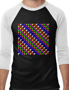 Triangle Repeated Colourful Pattern Men's Baseball ¾ T-Shirt
