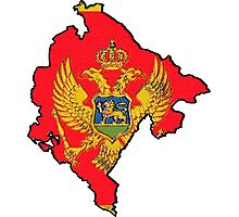Montenegro Map With Montenegrin Flag Photographic Print