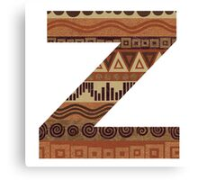 Letter Z Leather Look Pattern Tribal Ethnic Monogram Initial Canvas Print