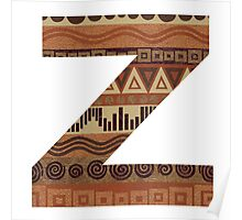Letter Z Leather Look Pattern Tribal Ethnic Monogram Initial Poster