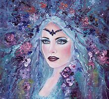 Fantasy portrait with flowers art by Renee Lavoie by Renee Lavoie