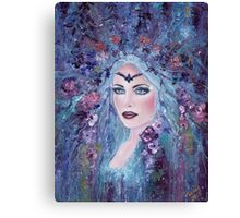 Fantasy portrait with flowers art by Renee Lavoie Canvas Print