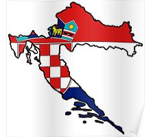 Croatia Map With Croat Flag Poster