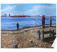 Winter Fishing at Weston Shore, Southampton Poster
