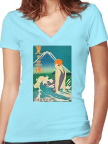 Woman at the Sea Women's Fitted V-Neck T-Shirt
