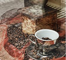 Silver Cup and Coffee Beans by brijo