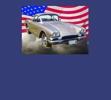 Silver1962 Chevrolet Corvette And American Flag Unisex T-Shirt