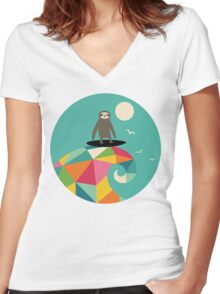 Surfs Up Women's Fitted V-Neck T-Shirt