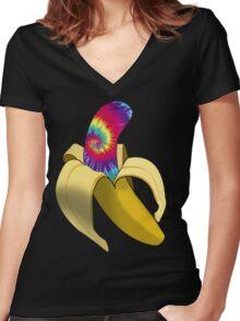 Tie Dye Banana Women's Fitted V-Neck T-Shirt