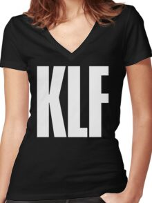 KLF TEXT TEE Women's Fitted V-Neck T-Shirt