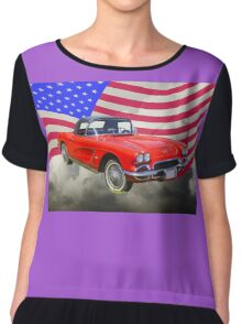 1962 Chevrolet Corvette With United States Flag Chiffon Top