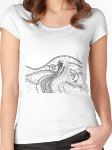 Fantasy woman into the Universe space.  Women's Fitted Scoop T-Shirt