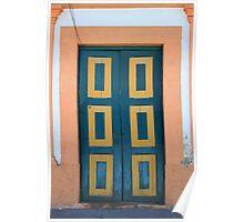 Blue and Yellow Wooden Door Poster