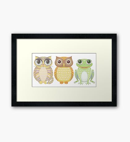 Cat Owl Frog Framed Print