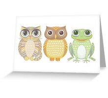 Cat Owl Frog Greeting Card