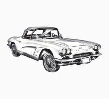 1962 Chevrolet Corvette Illustration One Piece - Short Sleeve