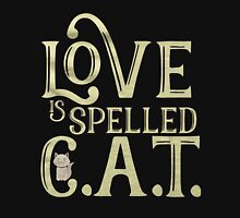 LOVE IS SPELLED CAT Womens Fitted T-Shirt