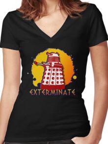Doctor Who: Exterminate Dalek Art Women's Fitted V-Neck T-Shirt