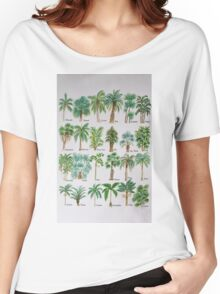 Palm tree watercolor alphabet Women's Relaxed Fit T-Shirt