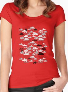 Doodle clouds and cats Women's Fitted Scoop T-Shirt