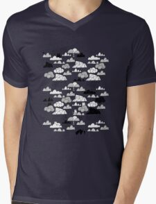 Doodle clouds and cats Mens V-Neck T-Shirt
