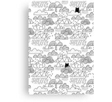 Doodle clouds and cats Canvas Print