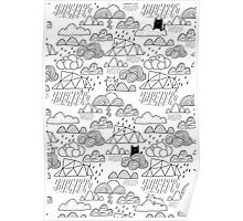 Doodle clouds and cats Poster