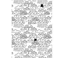 Doodle clouds and cats Photographic Print