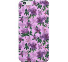 A watercolor seamless pattern of pink rhododendron flowers, branches of green leaves iPhone Case/Skin
