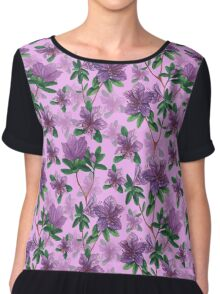 A watercolor seamless pattern of pink rhododendron flowers, branches of green leaves Chiffon Top